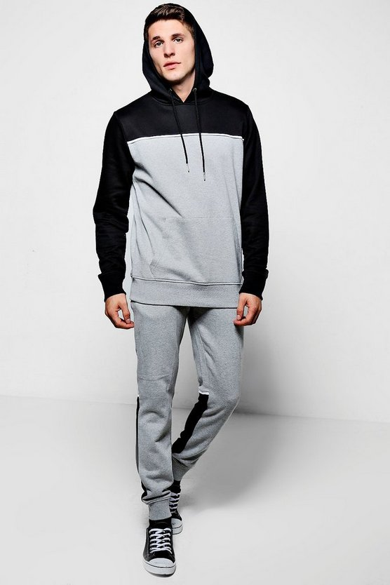 Colour Block Hooded Tracksuit With Piping