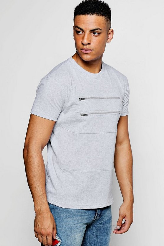 Crew Neck T-Shirt With Double Front Zip