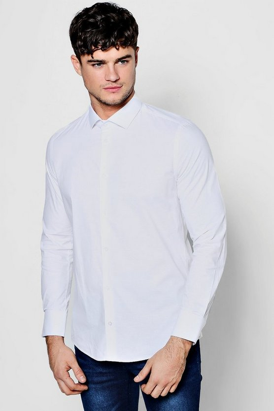 Slim Fit Stretchy Cutaway Collar Shirt