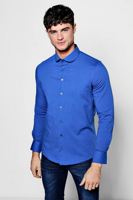 Slim Fit Stretch Penny Collar Shirt, Blue, HERREN