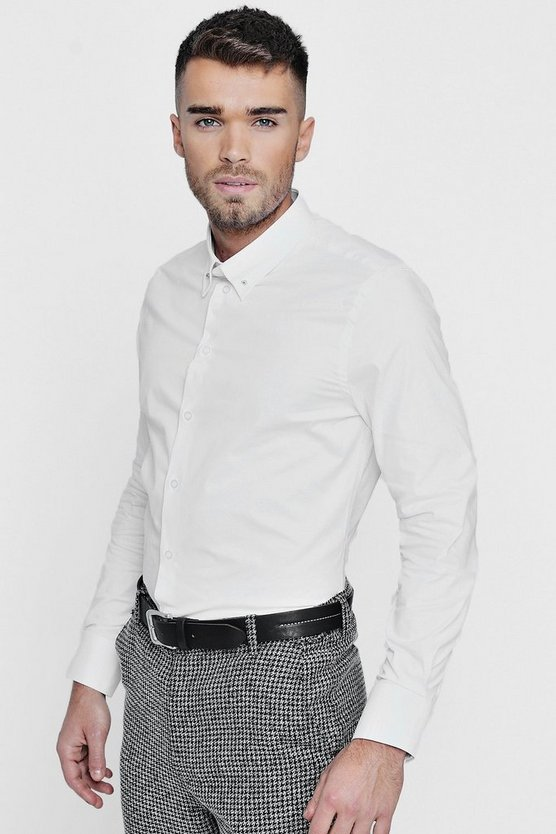Slim Fit Stretch Bar Collar Shirt