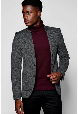 Slim Fit Jersey Blazer, Charcoal, HOMMES