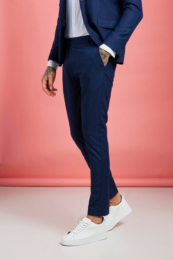 Mens Navy Skinny Fit Suit Trousers