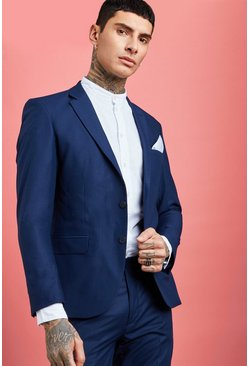 Mens Navy Skinny Fit Suit Blazer