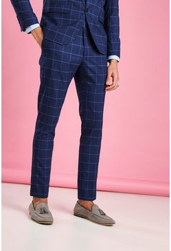 Skinny Fit Windowpane Check Suit Trousers, Navy, МУЖСКОЕ
