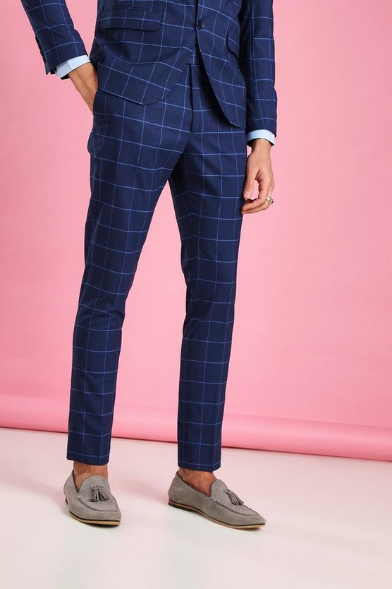 Mens Navy Skinny Fit Windowpane Check Suit Trousers