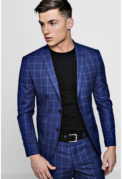 Mens Navy Skinny Fit Windowpane Check Blazer