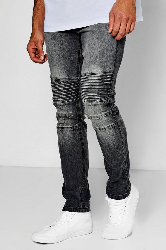 Mens Charcoal Wash Slim Fit Biker Jeans