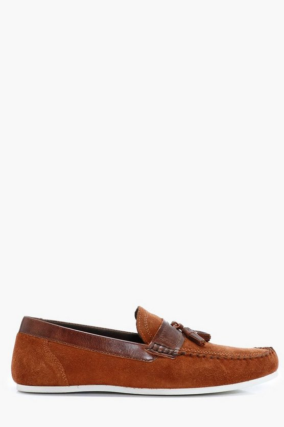 Tan Real Suede Casual Tassel Loafers