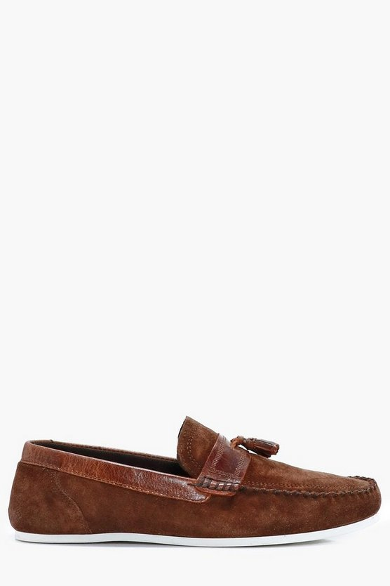 Brown Real Suede Casual Tassel Loafers
