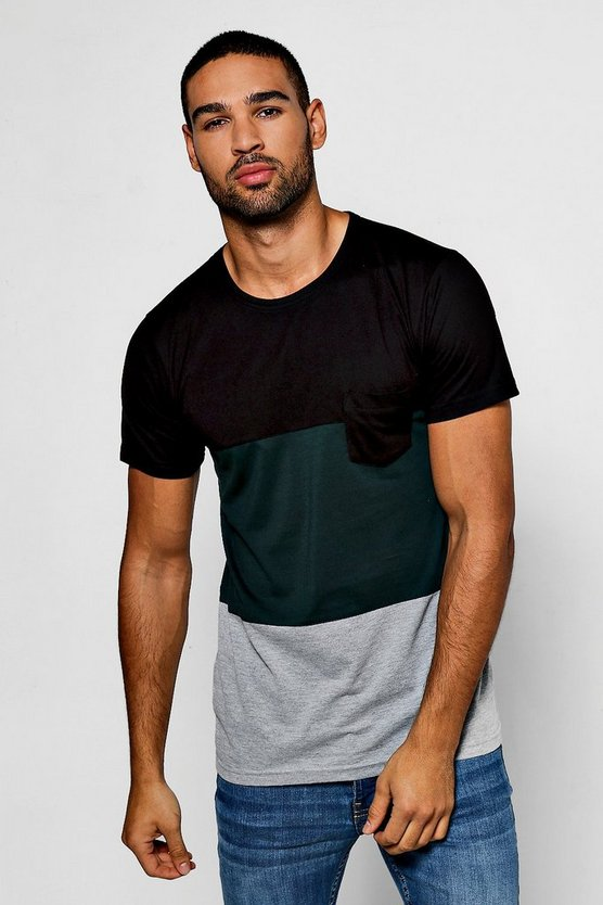 Colour Block T-Shirt With Chest Pocket