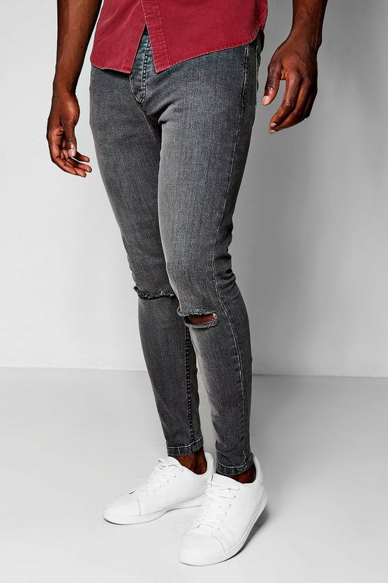 Charcoal Skinny Fit Jeans With Ripped Knees