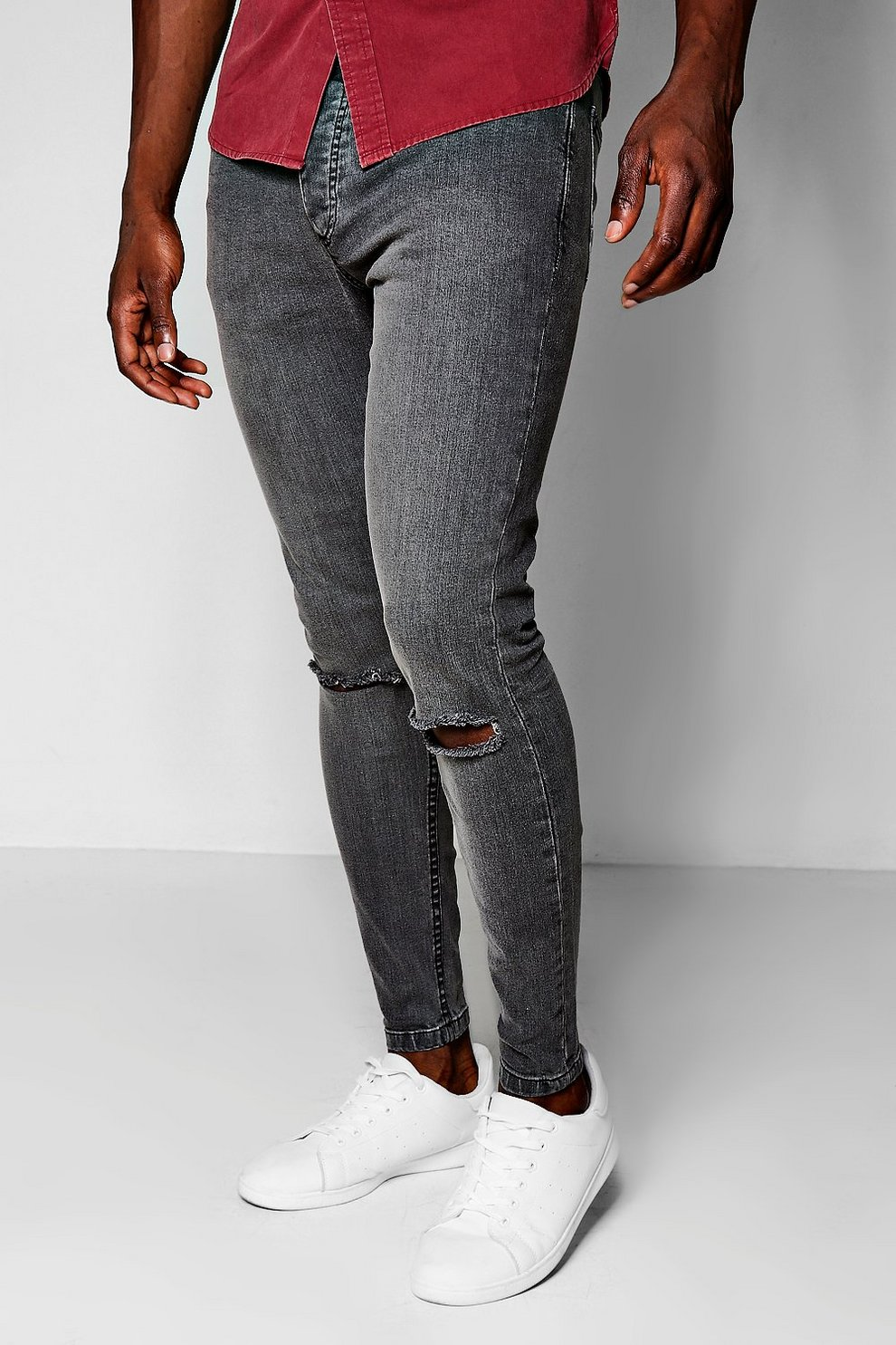 62f1ca802871 Charcoal Skinny Fit Jeans With Ripped Knees | Boohoo
