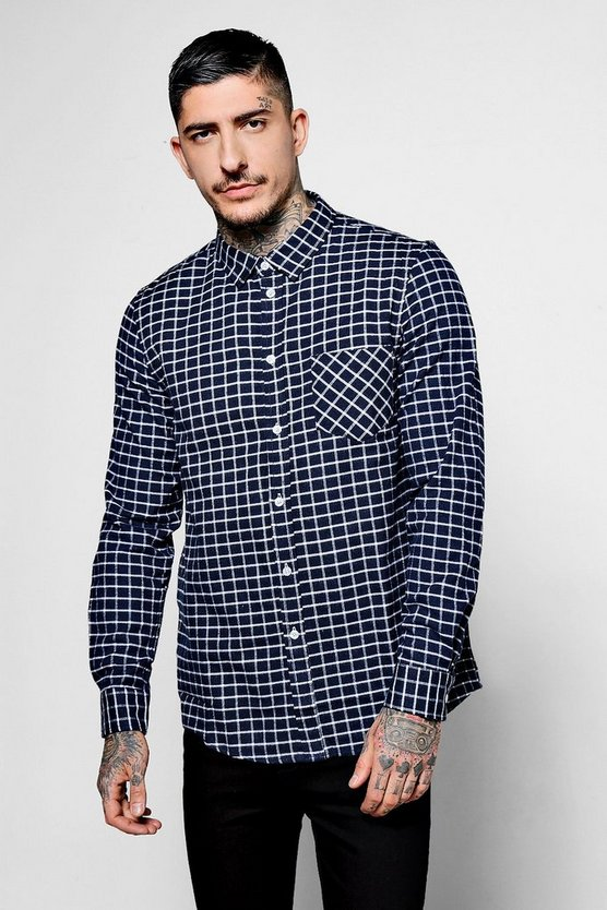 Navy Long Sleeve Window Pane Check Shirt