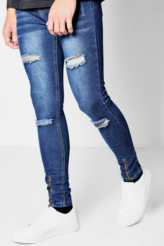 Super Skinny Distressed Jeans In Indigo Wash