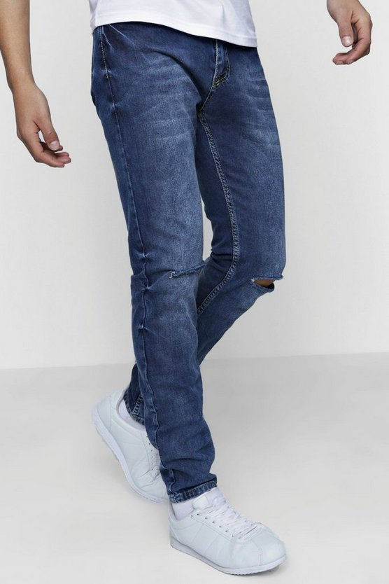 Mens Blue Skinny Mid Blue Jeans With Distressed Knees
