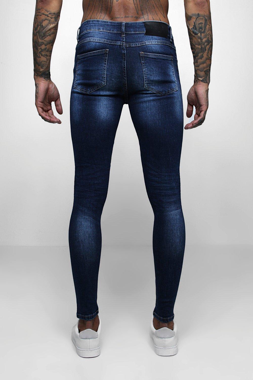 Spray Denim Skinny dark Jeans Distressed On blue Fit fpwvqfAx1