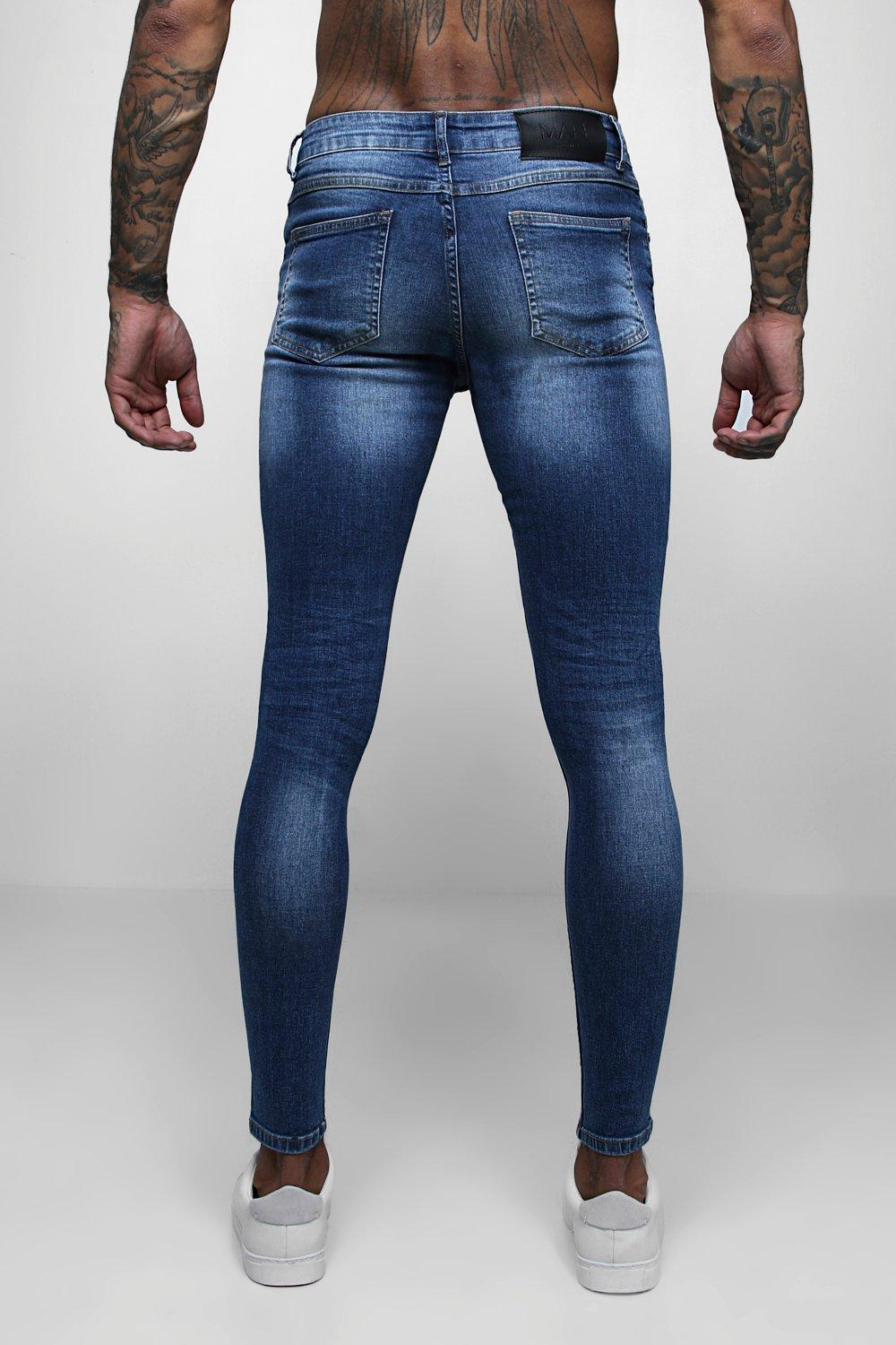 mid Spray Distressed Jeans blue On Skinny Denim Fit THaqxOYHw