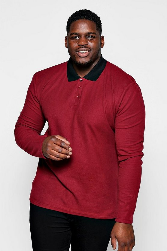 Big And Tall Burgundy Pique Polo Contrast Rib