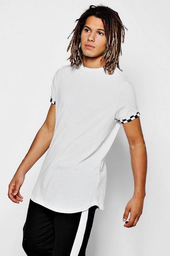 Curve Hem T-Shirt With Check Board Roll Sleeve