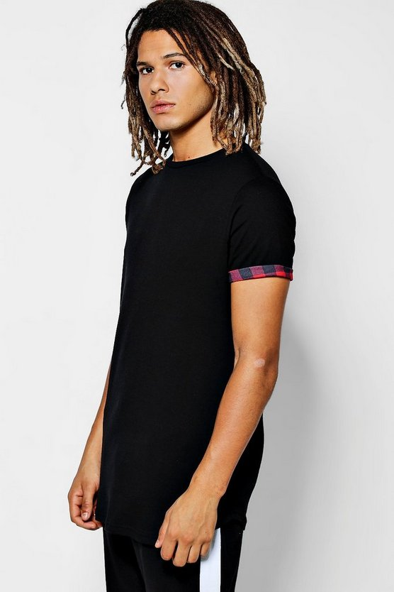 Check Roll Sleeve T-Shirt With Curve Hem