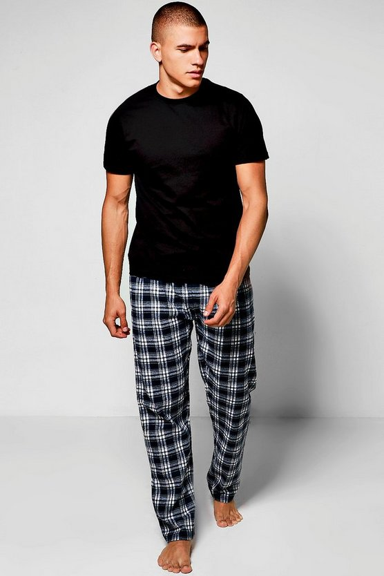 Pyjama Set with Checked Trousers