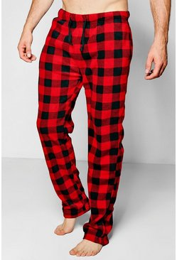 Mens Black And Red Checked Fleece Pyjama Pants