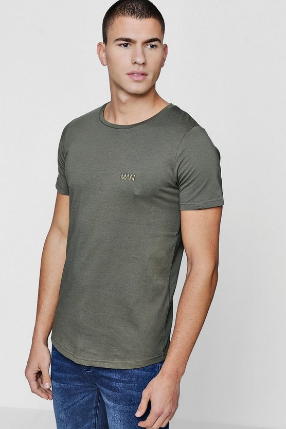 Original MAN T-Shirt With Curve Hem, Khaki, HOMBRE
