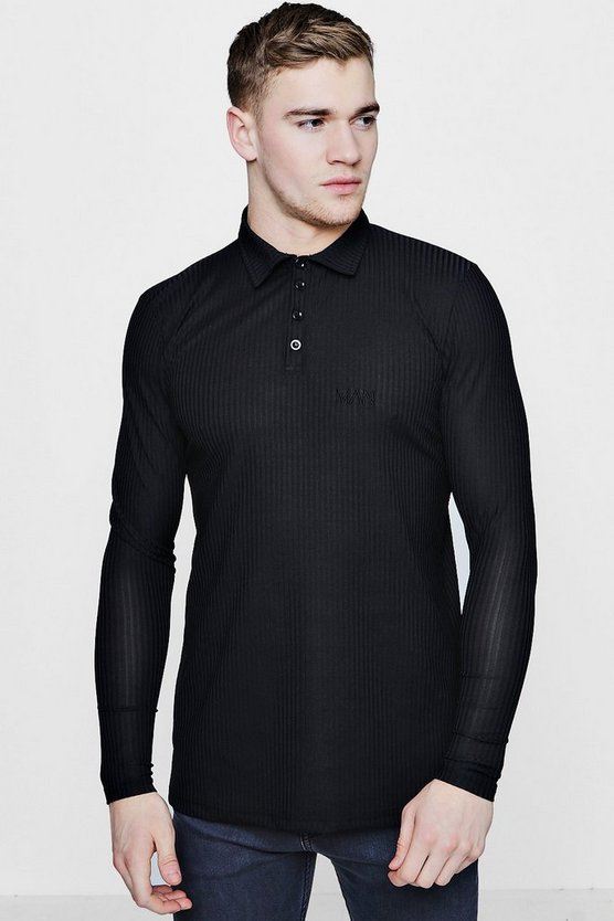 Long Sleeve MAN Muscle Fit Ribbed Polo