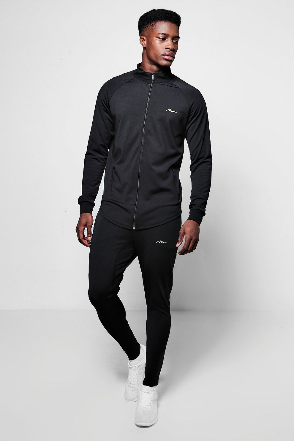 caf12d42ac Poly Track Top Muscle Fit Tracksuit | Boohoo