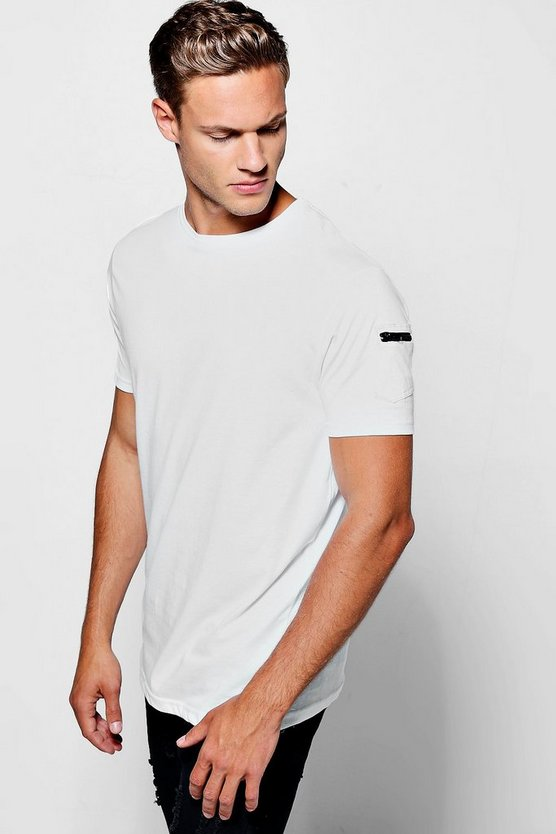 Crew Neck T-Shirt With Zip Pocket Sleeve