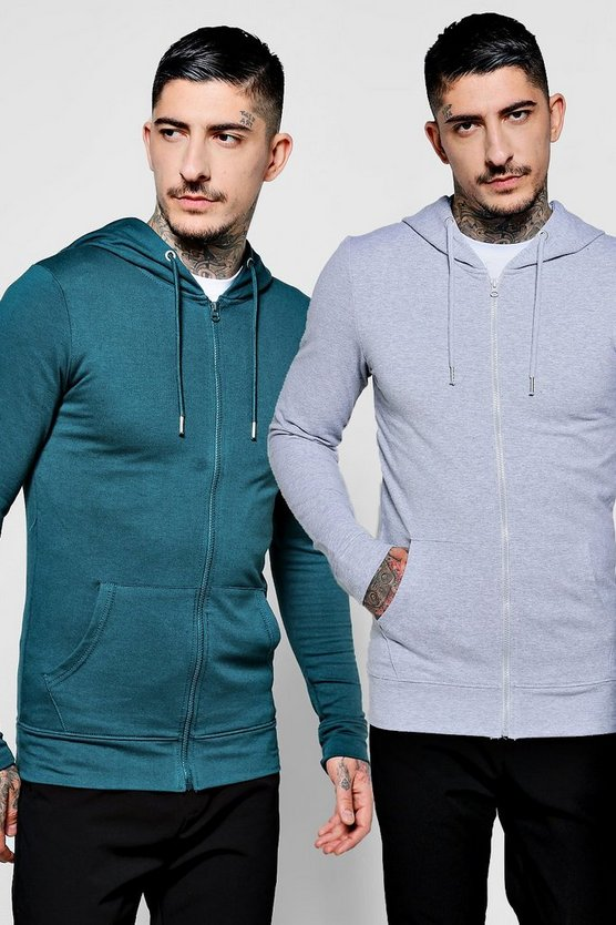 2 Pack Muscle Fit Zip Through Hoodie
