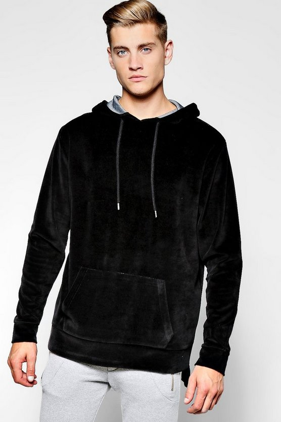 Over The Head Velour Hoodie With Step Hem