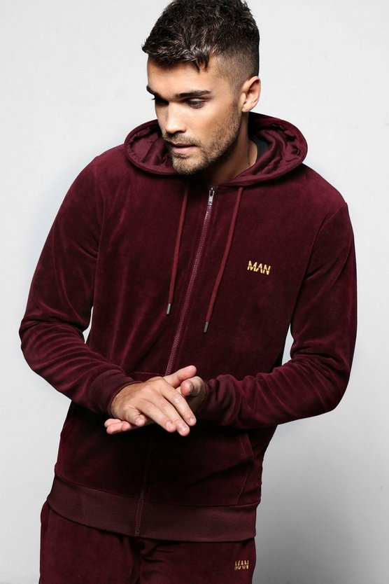 MAN Velour Zip Through Hoodie