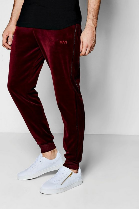 Skinny Fit Velour Joggers with Piping