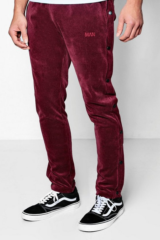 Man Velour Side Popper Joggers