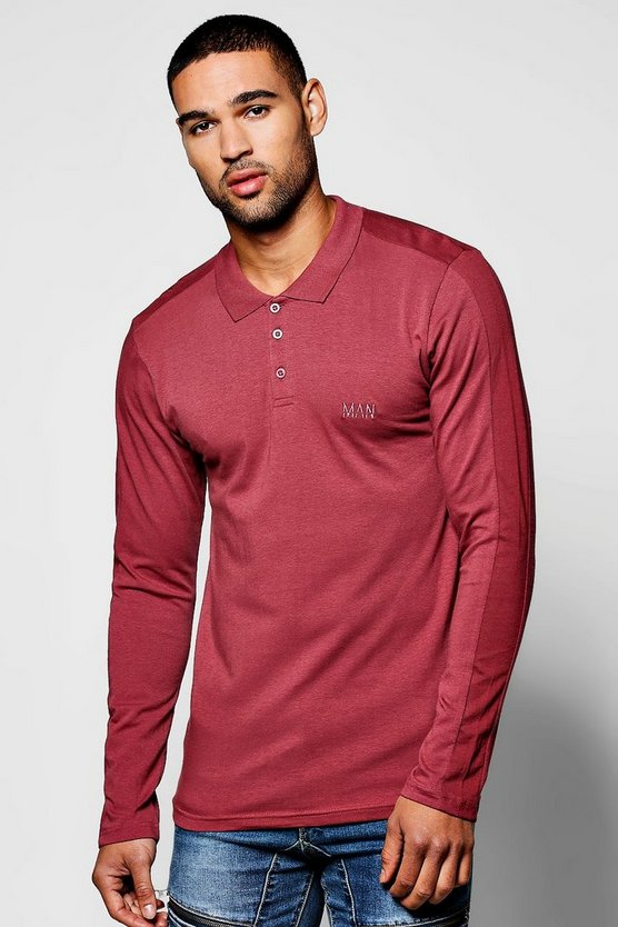 Long Sleeve MAN Muscle Fit Panel Polo