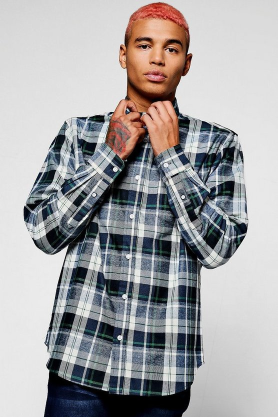 Blue Long Sleeve Check Shirt