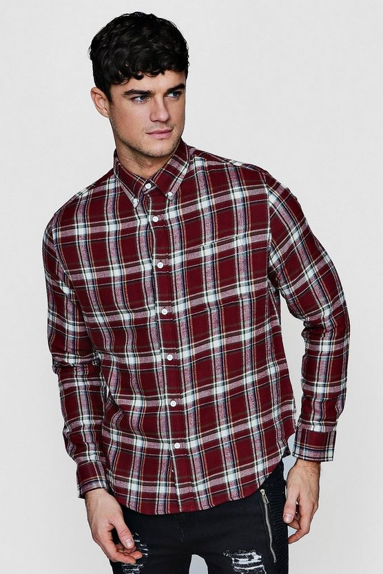 Burgundy Long Sleeve Check Shirt