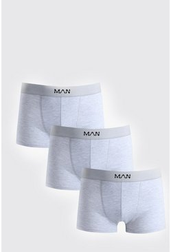 Mens 3 Pack Grey Basic MAN Boxers