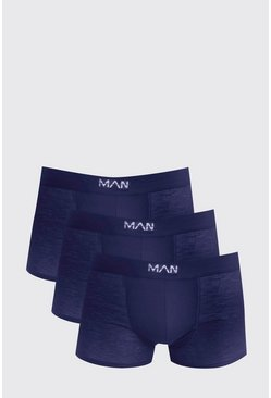 Mens 3 Pack Navy Basic MAN Trunks