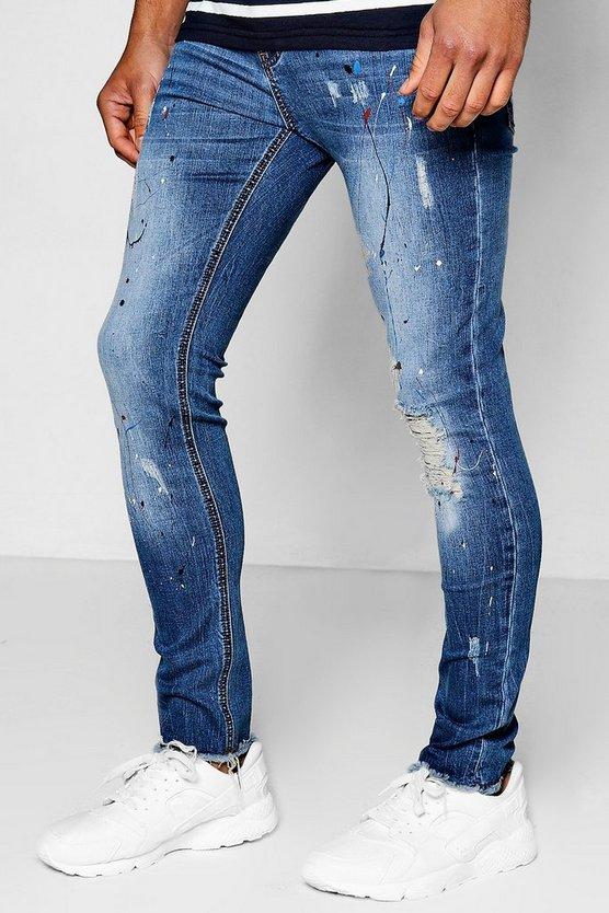 Mid Blue Super Skinny Jeans With Paint Splatter