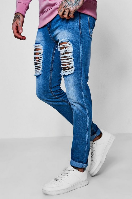 Skinny Fit Rigid Jeans With Thigh Rips