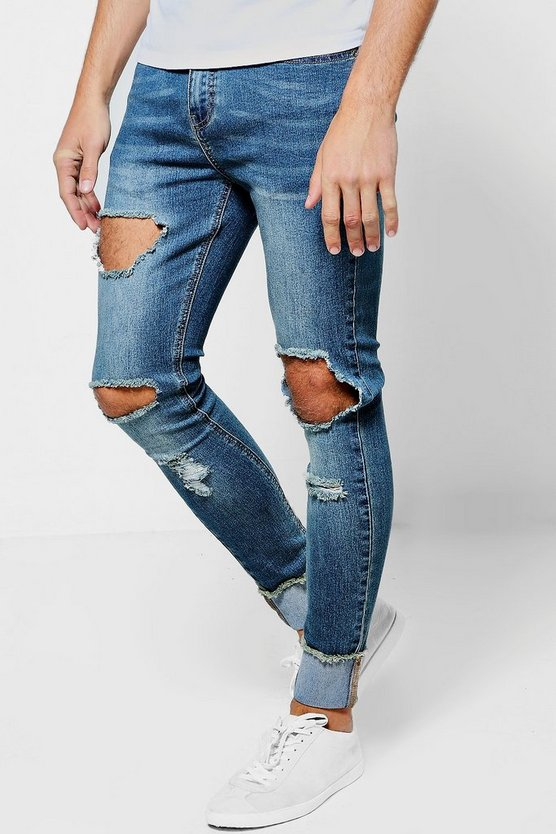 Spray On Skinny Ripped Knee Jeans