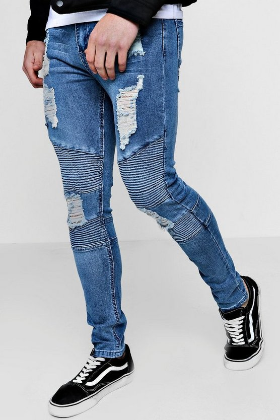 Mid blue Spray On Skinny Biker Jeans With All Over Rips