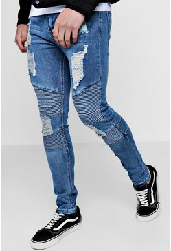 Mens Mid blue Spray On Skinny Biker Jeans With All Over Rips