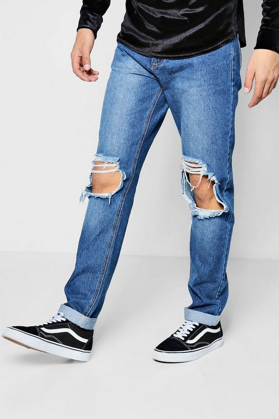 Mid Blue Ripped Knee Slim Fit Jeans