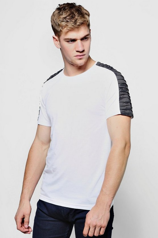 Mens White Shoulder Ribbing Detailed T-Shirt