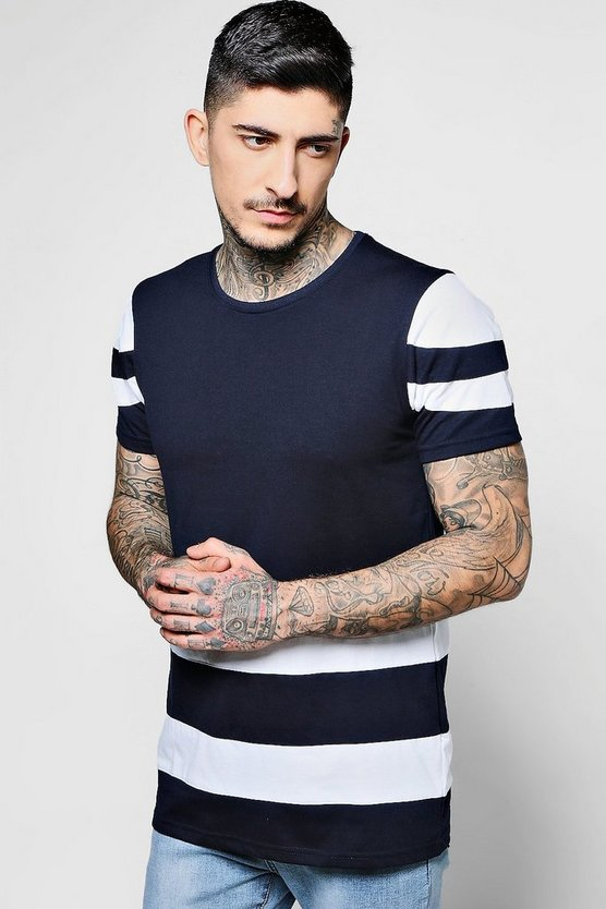 Colour Block Stripe Crew Neck T-Shirt