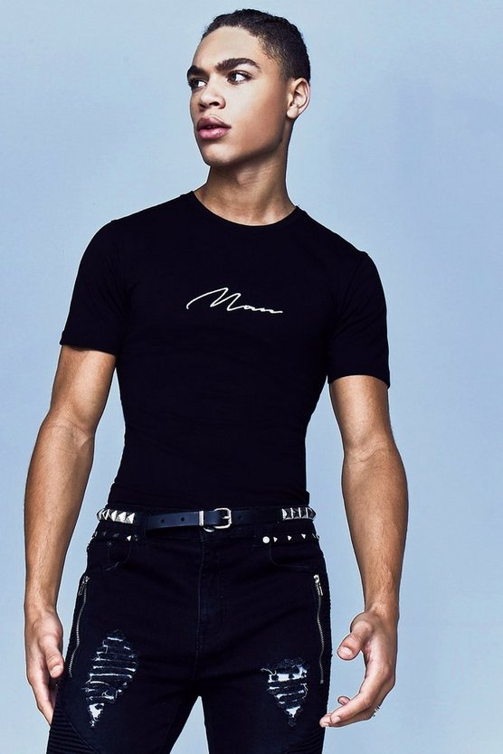 Mens Black Premium MAN Signature Muscle Fit T-Shirt